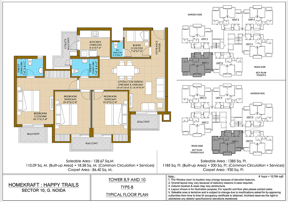 Homekraft Happytrails Noida Extension 3BHK Floor Plan
