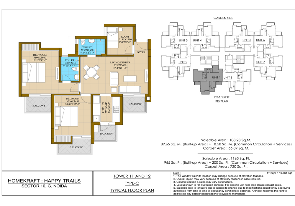 ATS Homekraft Happytrails 2BHK Floor Plan